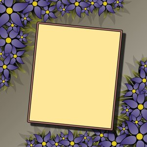 Floral Frame 2: rectangular frame with blue flowers in the high-resolution