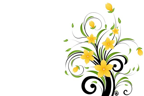 Yellow Flowers 1: Decorative motif with blueyellow and leafs
