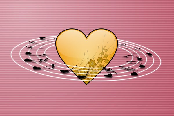 Heart Melody 1: Yellow heart surrounded by notes on the pink background
