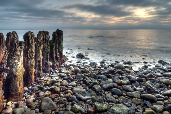 Coastline - HDR: Breakwater in morning light. The picture is HDR using 7 images.