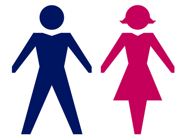 Gender Icons 2: Male and female icons in silhouette.