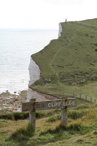 Foolhardiness: Disregard of safety on the chalk cliffs of the South Downs, West Sussex, England.
