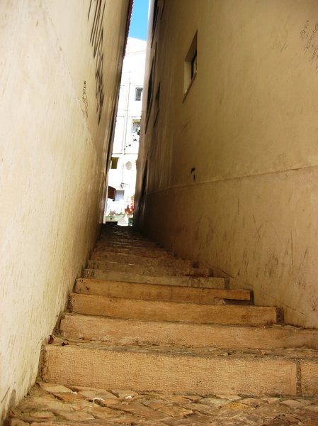 Narrow street with stairs