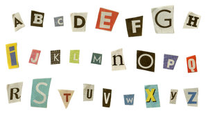 Anonymous: Set of alphabet letters, cut from newspapers, isolated on white background.