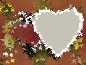 Leafy Heart 3 : A grungy, leafy background with a heart shape.