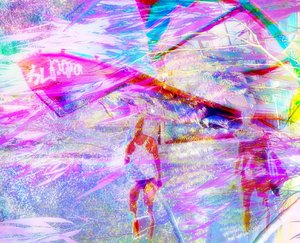 Oz Christmas: Abstract of the colours and shapes of Christmas Day in Australia, where many families head for the beach with a cold picnic lunch, or at least turn up at some part of the day. The smart ones stay out of the sun! This is a combination of three images.