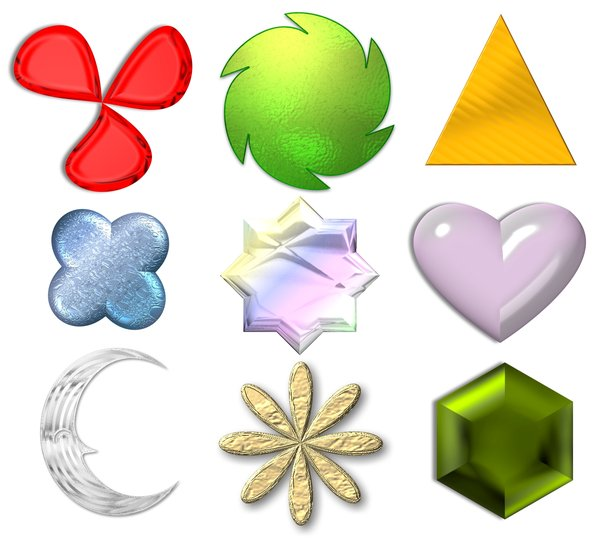 3D Buttons: Various shapes and buttons with a variety of fills, useful for illustration, decoration, and websites.