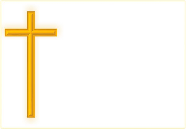 Golden Cross: Gold cross on a white background and a fine gold edge. Plenty of copyspace.