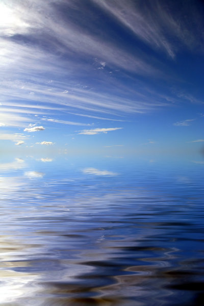 Water World : Abstract watery background with clouds. Photo and graphic. Excellent for science fiction background or many other uses.