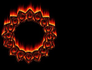 Blazing Disc: Burning shape against a black background. Made from a public domain font. Creator of the font is Martin Vogel, and I used it for an outline.