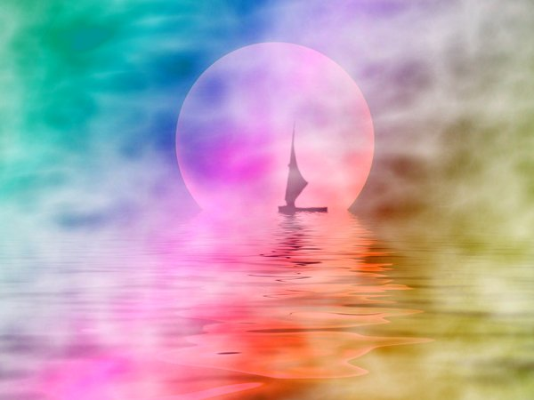Sailor Moon 5: Silhouette of a sailboat on misty water with a large moon in the background.