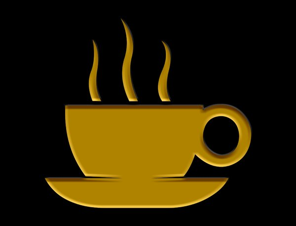 Coffee 1: Pictogram of steaming hot drink. Made from a Martin Vogel font which I used as an outline.