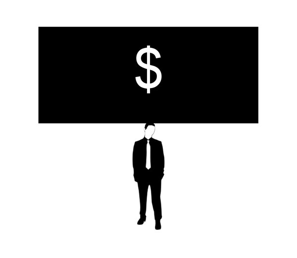 Something on Your Mind 2: Businessman (figure from a free for commercial use vector) thinking about money.