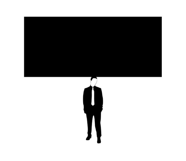 Something on Your Mind 4: Businessman (figure from a free for commercial use vector) with thoughts weighing him down. A blank one for your own thoughts.