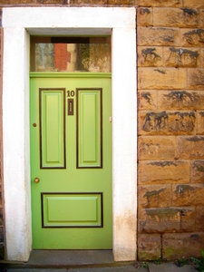 Lime door: Front door of a house in Ramsbottom, Lancashire