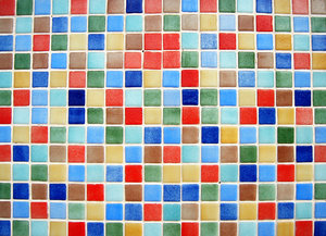 Colour tiles 1: Multicolour ceramic tiles texture. Playa de Gandia, Valencia