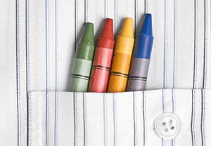 crayons: crayons in a shirt pocket