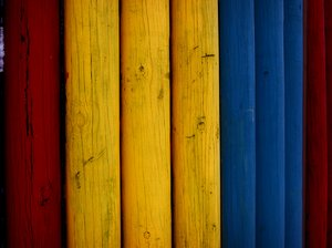 colors: colorful wooden poles