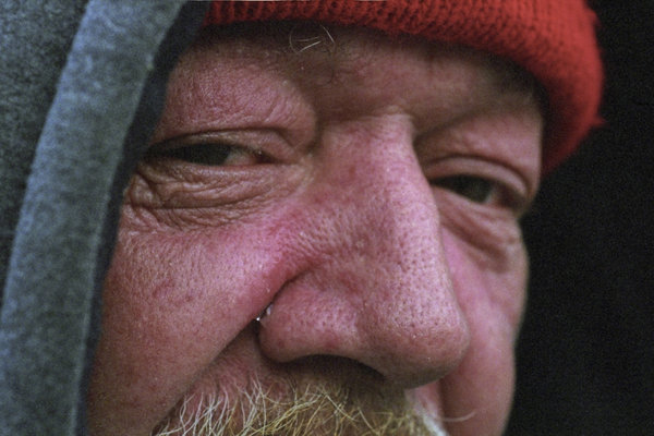 Street Tear: Larry, Homeless, Normally carries something of a gruff personna but today I caught him in a state of melancholy as I saw a tear stream down his cheek. When I aked he told me that he was reminice about christmas past.