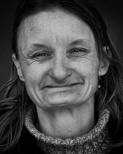 Homeless Woman: Portrait of homeless woman