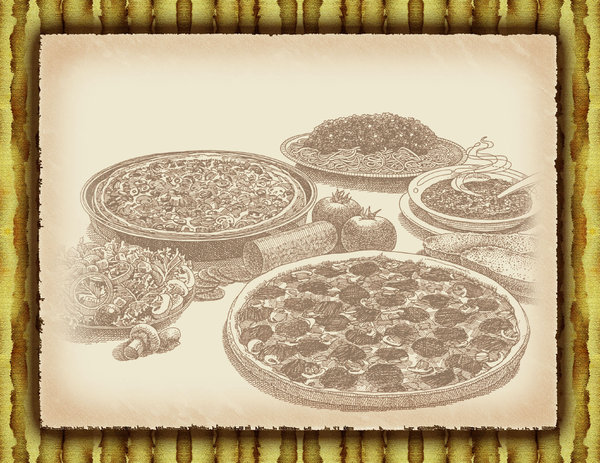 Pizza Paper: paper with pizza illustration.Please visit my stockxpert gallery:http://www.stockxpert.com ..