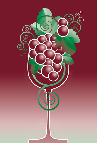 Wine: illustration of grapes in a wine glass.Please visit my gallery at:http://www.stockxpert.com ..