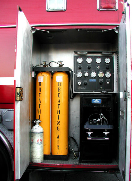 Fireman's breathing air: This containers are vital for the work of firemen... breathing air for heroes.