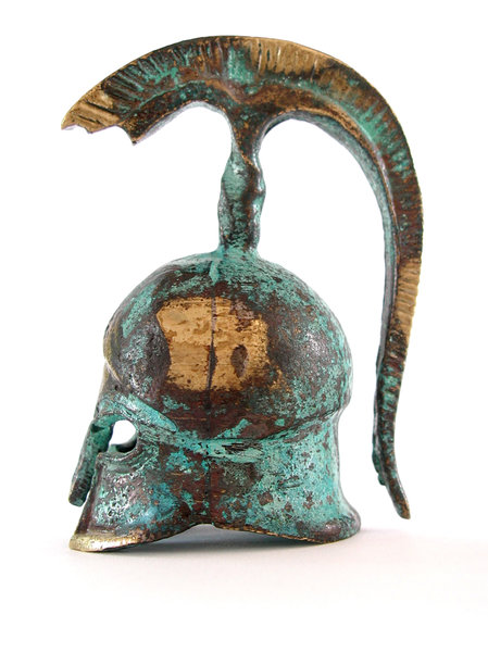 Greek helmet 1: We found and bought this 5 cms helmet at a local workshop of the beautiful greek island called Hydra.