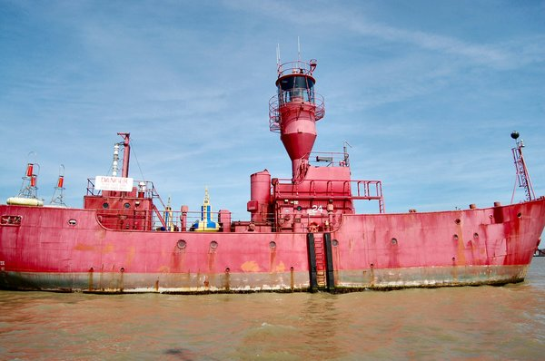 Lightship: Derelict lightship moored at Felixstowe awaiting scrappage