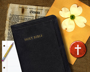 Bible Study: A vintage collage of Bible stuff.For the HI RES image, please visit:http://www.stockxpert.com ..