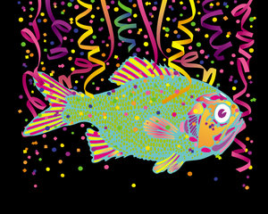 Confetti Fish: A colorful fish with confetti.http://www.stockxpert.com ..