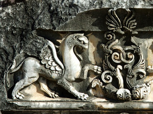 Griffon: Griffon as ornament on antique temple in Turkey