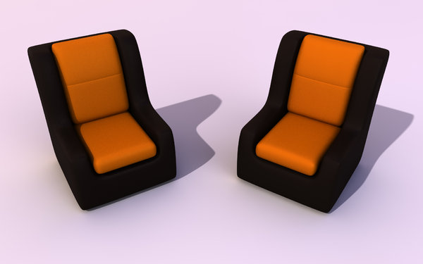 A pair of Couches: An abstract picture of 2 equal black couches in leather with orange/yellow sittings on a smooth white nackground.