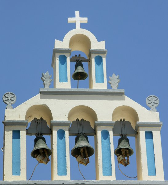 bells in a tower: bells in a mediterranean tower, Greece