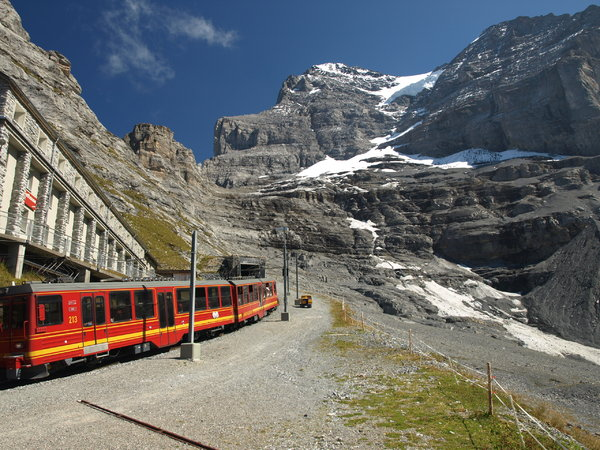 mountain train: This is the highest railway of europe, it go's up to 3500m in Swiss
