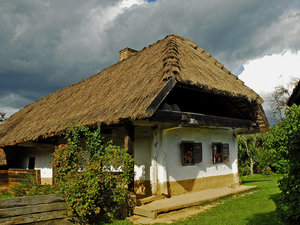 Old hause: old style, traditional house of a peasant family in Hungary