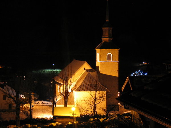 Mountain village by night