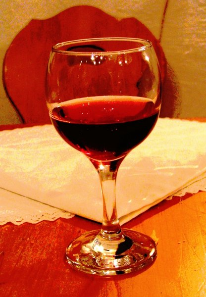 wine glass: half full