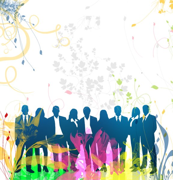Celebration: A colorful floral background for Corporate and General concepts of celebrationThe Original Silhouette image is from Brian, a.k.a spekulatorSilhouette Photo Link here:http://www.sxc.hu/photo/8 ..