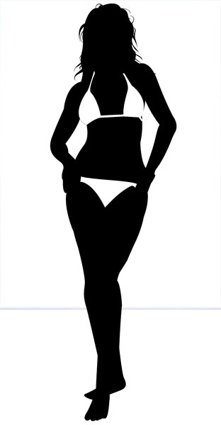 Model Silhouette 5: High resolution Silhouette of a female  fashion  model in swimsuit