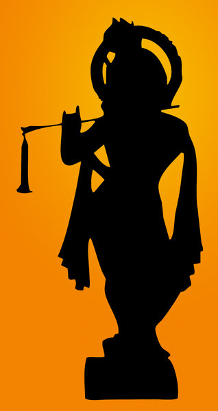 Krishna: Idol Silhouette of Indian mythological character. Krishna