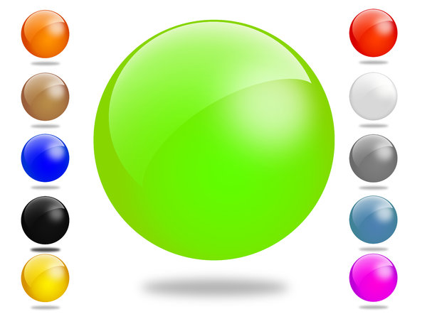 Glossy Ball Set: Set of different colored gloss ball illustrations