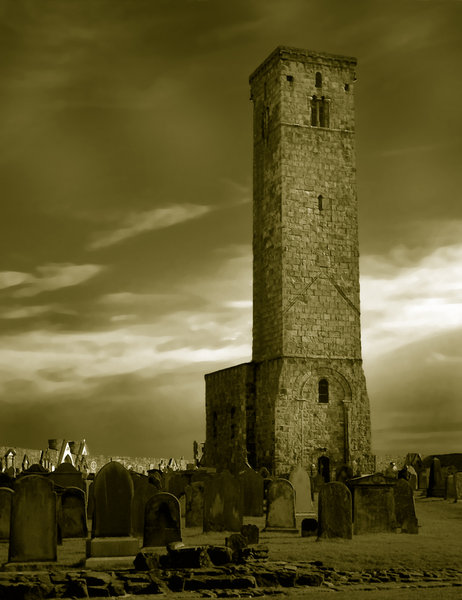 Old tower 2: Tower and graveyard in St Andrews, Scotland