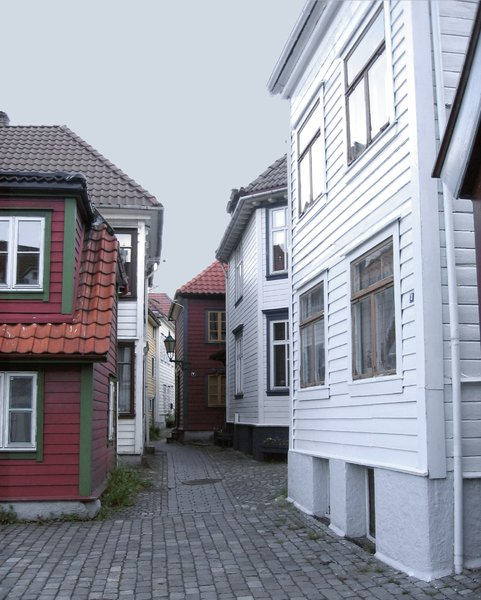 lane with norwegian wood house: Typical lane with norwegian wood houses