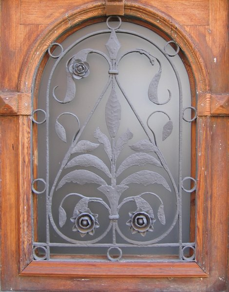 wrought-iron glass window
