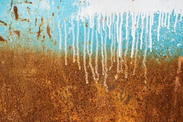 Rusty texture: Rusty and weathered boat hull