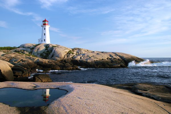 Peggy's Cove: Lighthouse reflection at Peggy's Cove, Nova Scotia, Canada