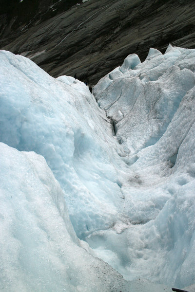 Glacier gully: A gully in an enormous glacier in Norway.