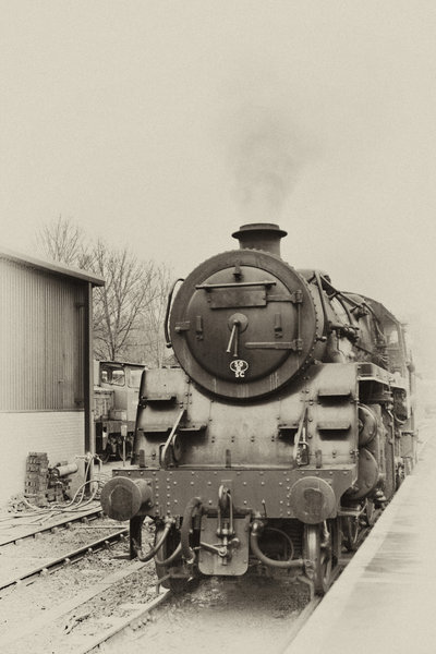 old train and station: Old steam train and an old railway station on the Yorkshire moors. Photos made to look old.