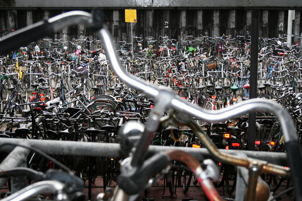 Millions of bikes in Amsterdam: Amsterdam in April 2010 taken next to the Central Railway Station.